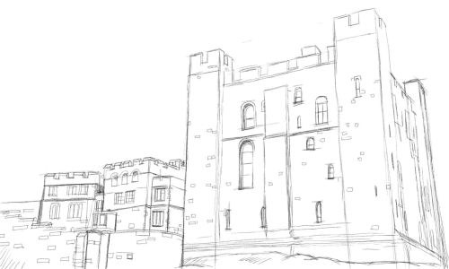 Pencil drawing of a castle.