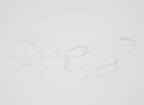 Airplane Drawings in Pencil