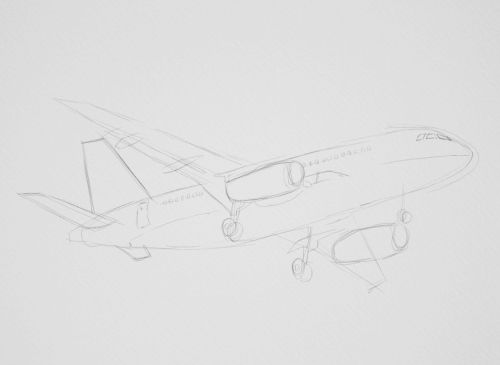 Airplane Drawings in Pencil