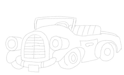 old time car cartoon drawing