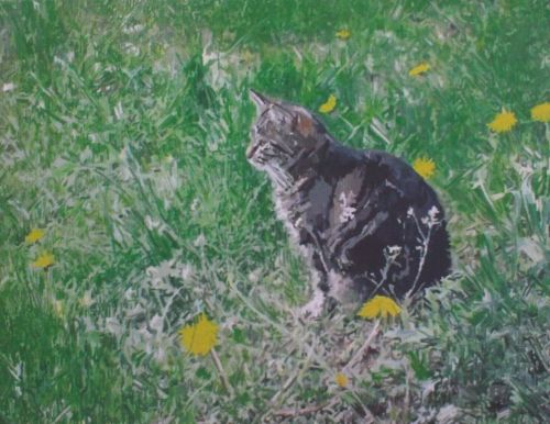 Cat Painting in Acrylics 12