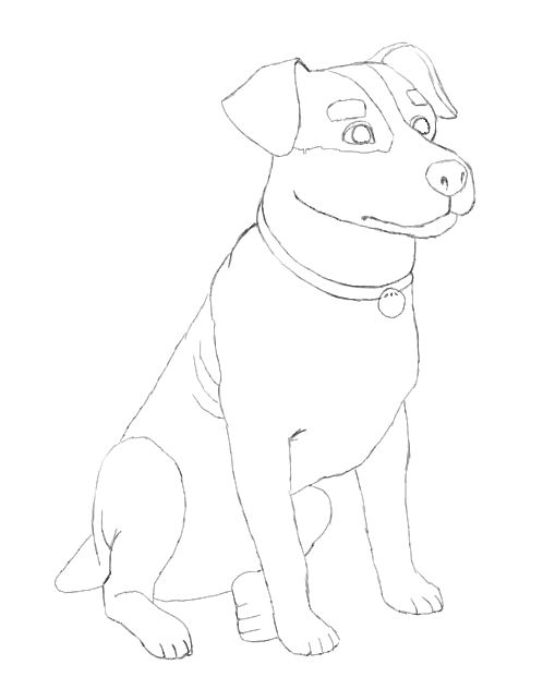 how to draw dog using the word dog