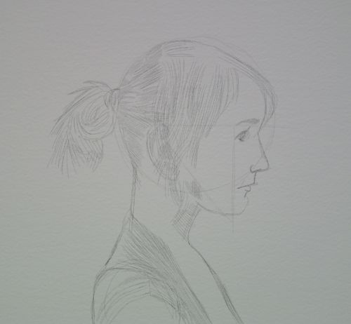 Face Sketch in pencil of a young woman