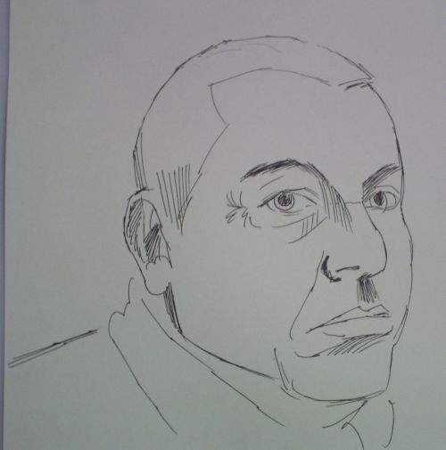 Face sketch of a man in pen