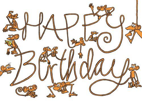 Monkey Birthday Card gangcraftnet – Funny Monkey Birthday Cards