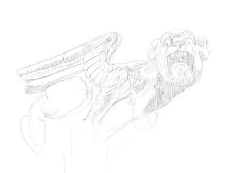 Pencil Drawing of a gargoyle 10