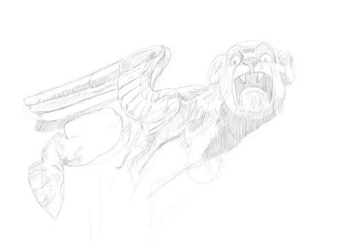 Pencil Drawing of a gargoyle 11
