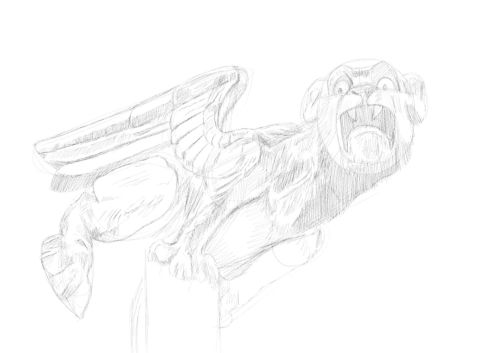 Pencil Drawing of a gargoyle 12