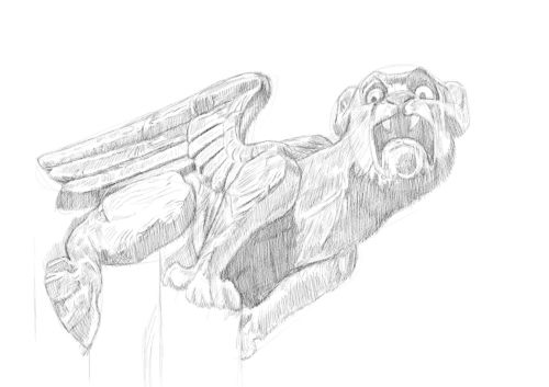 Pencil Drawing of a gargoyle 13