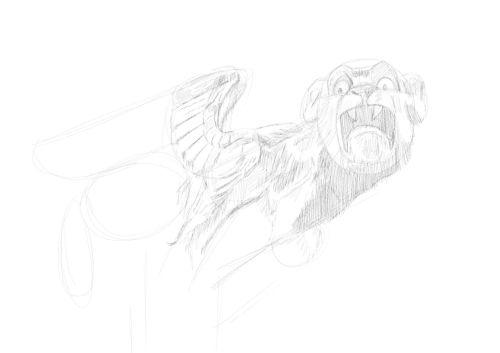 Pencil Drawing of a gargoyle 8