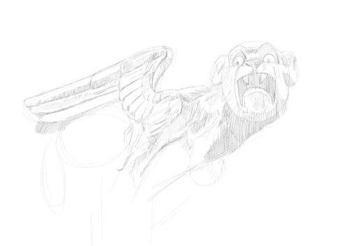 Pencil Drawing of a gargoyle 9