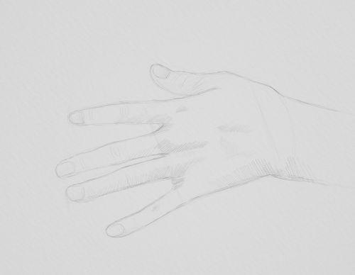 girl hand sketch in pencil