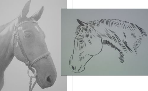 Two Horse Head Drawings in ink and in pencil