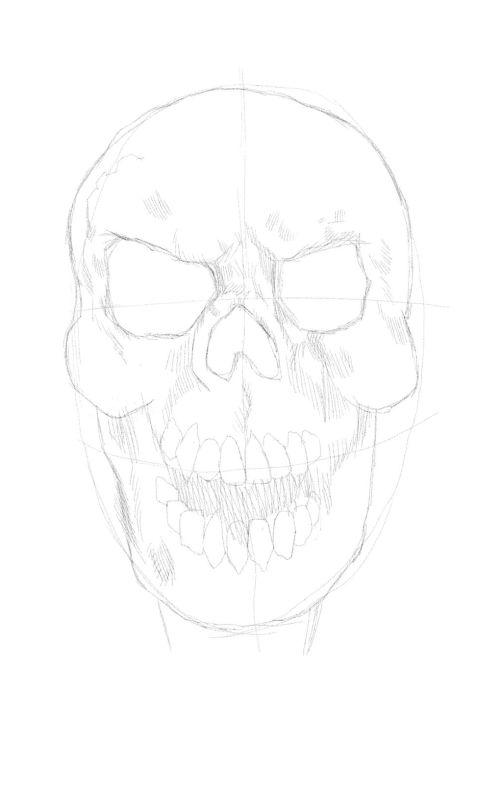evil skull drawings 5